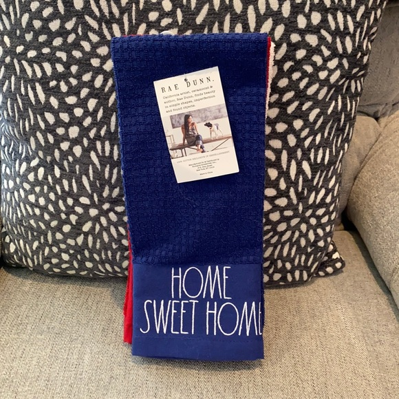 Rae Dunn Blue Red White Americana Kitchen Towels